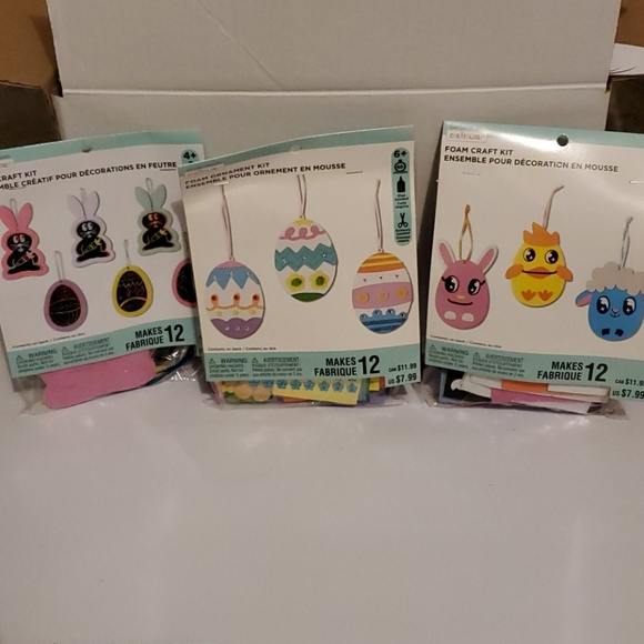 3 craft ornament kits easter